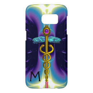 GOLD CADUCEUS MEDICAL SYMBOL ,Blue Purple Monogram Samsung Galaxy S7 Case