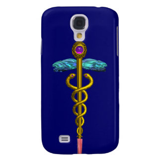 GOLD CADUCEUS MEDICAL SYMBOL ,Blue Samsung Galaxy S4 Case