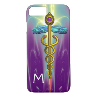 GOLD CADUCEUS MEDICAL SYMBOL Green Purple Monogram iPhone 8/7 Case