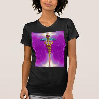 GOLD CADUCEUS MEDICAL SYMBOL, Pink Fuchsia T-Shirt