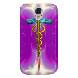GOLD CADUCEUS MEDICAL SYMBOL Pink Violet Purple Galaxy S4 Cover