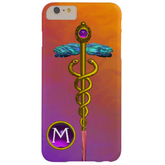 GOLD CADUCEUS MEDICAL SYMBOL Purple Gem Monogram Barely There iPhone 6 Plus Case