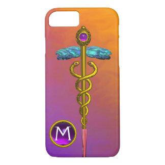 GOLD CADUCEUS MEDICAL SYMBOL Purple Gem Monogram iPhone 8/7 Case
