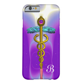 GOLD CADUCEUS MEDICAL SYMBOL  Purple Monogram Barely There iPhone 6 Case