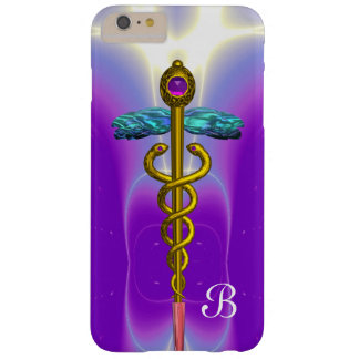 GOLD CADUCEUS MEDICAL SYMBOL  Purple Monogram Barely There iPhone 6 Plus Case