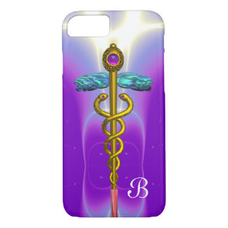 GOLD CADUCEUS MEDICAL SYMBOL Purple Monogram iPhone 8/7 Case