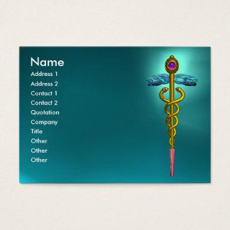 GOLD CADUCEUS,MEDICAL SYMBOL,TEAL BLUE AQUAMARINE BUSINESS CARD