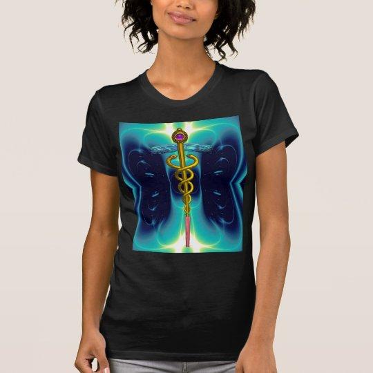 GOLD CADUCEUS MEDICAL SYMBOL, Teal Turquoise Blue T-Shirt