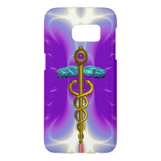 GOLD CADUCEUS MEDICAL SYMBOL ,Violet Purple Samsung Galaxy S7 Case