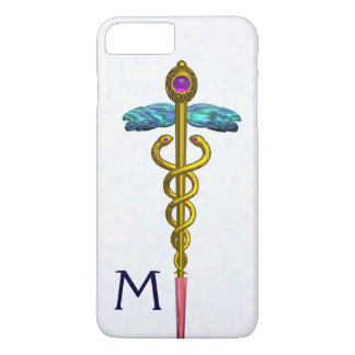 GOLD CADUCEUS MEDICAL SYMBOL White Monogram iPhone 8 Plus/7 Plus Case