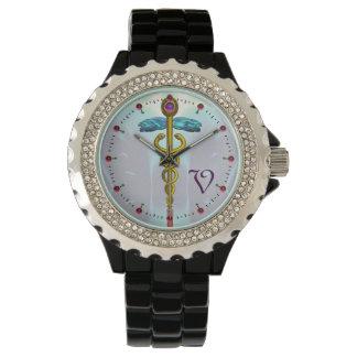 GOLD CADUCEUS MONOGRAM ,Aqua Blue Wristwatch