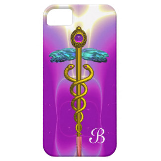 GOLD CADUCEUS MONOGRAM ,Pink Fuchsia iPhone SE/5/5s Case