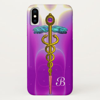 GOLD CADUCEUS MONOGRAM ,Pink Fuchsia iPhone X Case