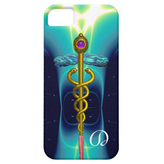 GOLD CADUCEUS MONOGRAM ,Teal Aqua blue iPhone SE/5/5s Case