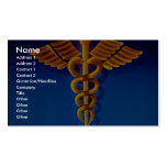 Gold caduceus over blue medical background business card templates