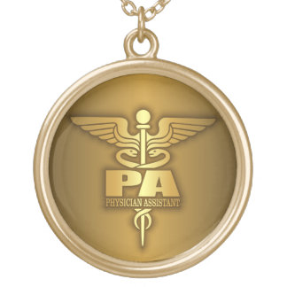 Gold Caduceus (PA) Gold Plated Necklace