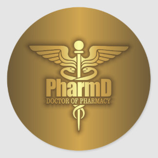 Gold Caduceus (PharmD) Classic Round Sticker