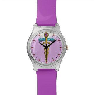 GOLD CADUCEUS ,Pink,Lilac Wrist Watch