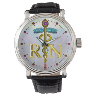 GOLD CADUCEUS REGISTERED NURSE SYMBOL / Blue Lilac Wrist Watch