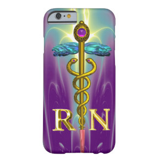 GOLD CADUCEUS REGISTERED NURSE SYMBOL Blue Purple Barely There iPhone 6 Case