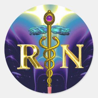 GOLD CADUCEUS REGISTERED NURSE SYMBOL Blue Purple Classic Round Sticker