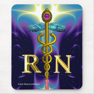 GOLD CADUCEUS REGISTERED NURSE SYMBOL Blue Purple Mouse Pad