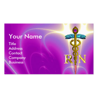 GOLD CADUCEUS REGISTERED NURSE SYMBOL Fuchsia Pink Double-Sided Standard Business Cards (Pack Of 100)