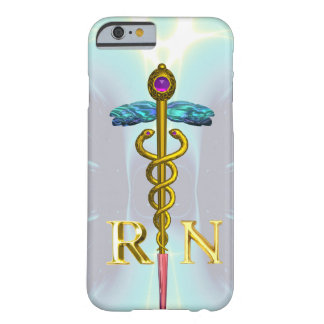 GOLD CADUCEUS REGISTERED NURSE SYMBOL Light Blue Barely There iPhone 6 Case