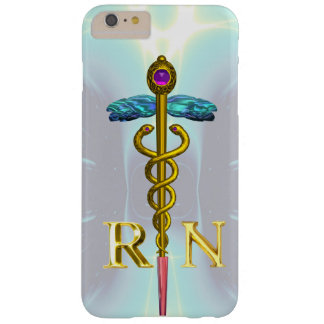 GOLD CADUCEUS REGISTERED NURSE SYMBOL Light Blue Barely There iPhone 6 Plus Case