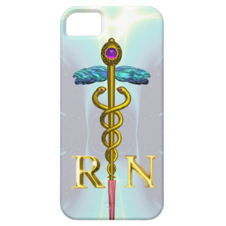 GOLD CADUCEUS REGISTERED NURSE SYMBOL Light Blue iPhone SE/5/5s Case