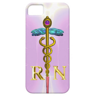 GOLD CADUCEUS REGISTERED NURSE SYMBOL Light Pink iPhone SE/5/5s Case