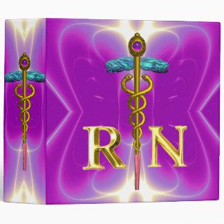 GOLD CADUCEUS REGISTERED NURSE SYMBOL Pink Fuchsia 3 Ring Binder