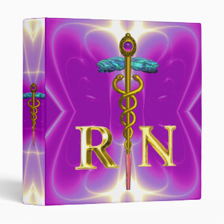 GOLD CADUCEUS REGISTERED NURSE SYMBOL Pink Fuchsia 3 Ring Binder