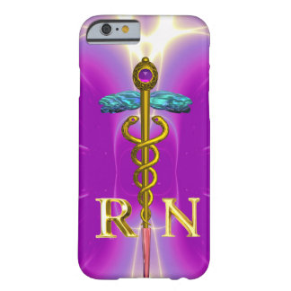 GOLD CADUCEUS REGISTERED NURSE SYMBOL Pink Fuchsia Barely There iPhone 6 Case