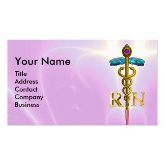 GOLD CADUCEUS REGISTERED NURSE SYMBOL pink Fuchsia Business Card