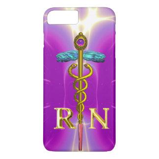 GOLD CADUCEUS REGISTERED NURSE SYMBOL Pink Fuchsia iPhone 8 Plus/7 Plus Case