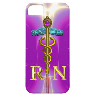 GOLD CADUCEUS REGISTERED NURSE SYMBOL Pink Fuchsia iPhone SE/5/5s Case