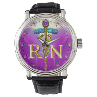 GOLD CADUCEUS REGISTERED NURSE SYMBOL Pink Fuchsia Wrist Watches