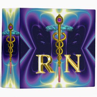GOLD CADUCEUS REGISTERED NURSE SYMBOL Purple Blue 3 Ring Binder