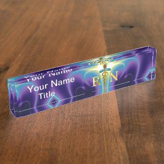 GOLD CADUCEUS REGISTERED NURSE SYMBOL /Purple Blue Desk Name Plate