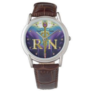 GOLD CADUCEUS REGISTERED NURSE SYMBOL Purple Blue Wrist Watches