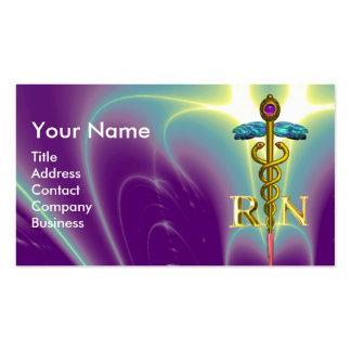 GOLD CADUCEUS REGISTERED NURSE SYMBOL Purple Green Business Card