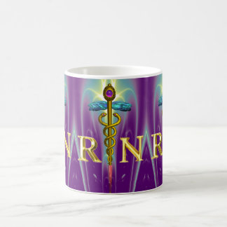 GOLD CADUCEUS REGISTERED NURSE SYMBOL Purple Green Coffee Mug