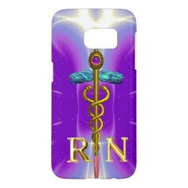 USA Themed GOLD CADUCEUS REGISTERED NURSE SYMBOL Purple Samsung Galaxy S7 Case