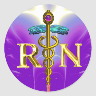 GOLD CADUCEUS REGISTERED NURSE SYMBOL Purple Teal Classic Round Sticker