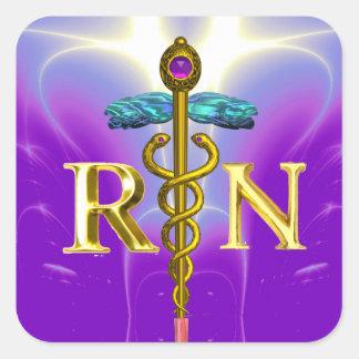 GOLD CADUCEUS REGISTERED NURSE SYMBOL Purple Teal Square Sticker