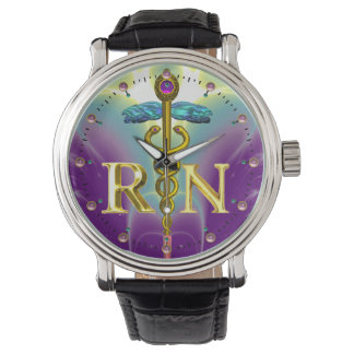 GOLD CADUCEUS REGISTERED NURSE SYMBOL Purple Teal Wristwatch