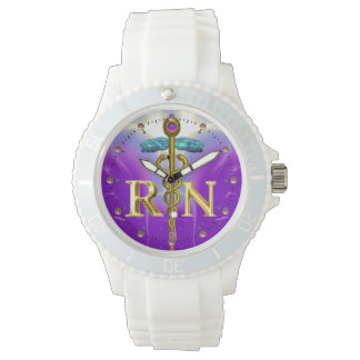 GOLD CADUCEUS REGISTERED NURSE SYMBOL /Purple Wristwatch