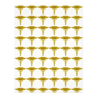 Gold Caduceus Shape Pattern Scrapbooking Letterhead