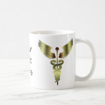 Gold Caduceus symbol Coffee Mug
